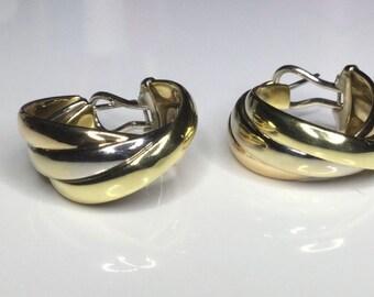 Estate Italian Designer 18K Tri-Color Gold Hoop Omega Back Earrings 16 Grams