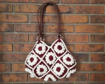 Crochet flower handbag# Popcorn flower granny square#Popcorn purse#Granny square handbag purse