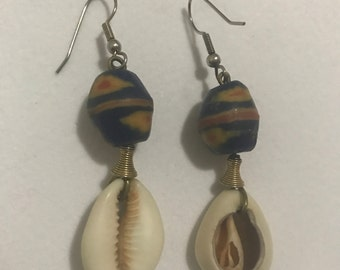 vintage bead and shell earrings