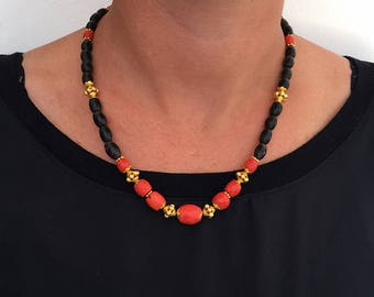Coral Beaded Necklace, Black Necklace For Men, Mens Beaded Necklace, Black Coral Necklace, Men's Statement Necklace, 18k Gold Men's Necklace