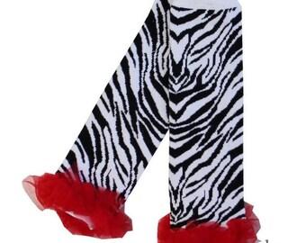 Baby Red Ruffles Zebra Leg Warmers