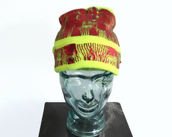 Red Foil with Blue and Teal on Neon Yellow Beanie