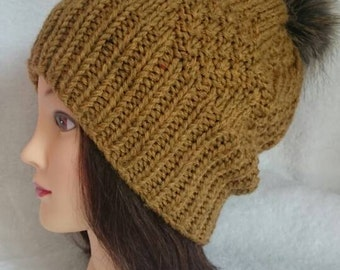 Women's Knit Hat / Hand knit hat / slouchy knitted hat / knitted beanie / pompom hat
