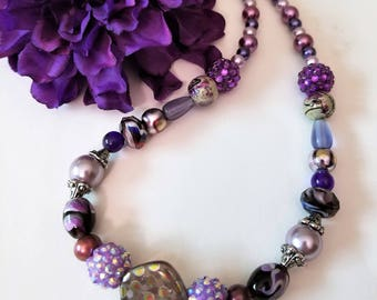 Purple Chunky Necklace with Faux Pearls, Silver Beaded Jewelry with Light and Dark Purple and Polka-Dot Glass Beads