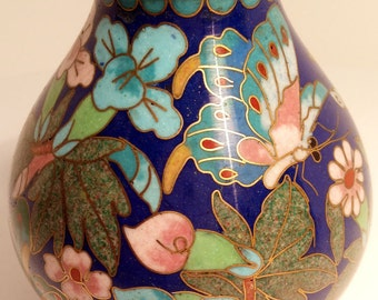 Cloisonne Niu Tou Zun-shaped Vase, Gilt Edging