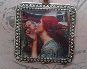 The Soul of the Rose. Pre Raphaelite Square Pendant on Silver Chain