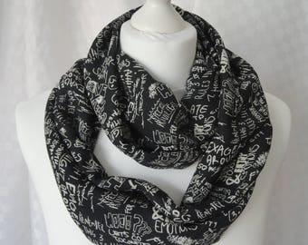 Graffiti doodles print infinity scarf, Circle scarf, Graffiti print scarf, Print scarf, Scarf for her, Lightweight scarf, Fashion scarf
