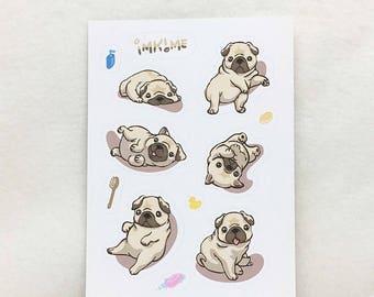 MATTE   Gimme Fawn Pugs! Cute Pug Stickers