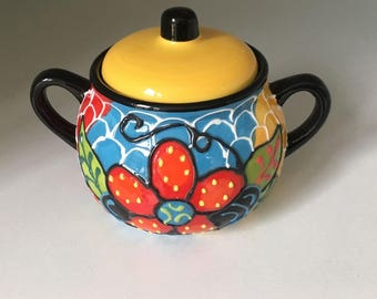 Hand painted, vibrantly coloured Spanish Pottery – Multi colored Medium sized Ceramic Jar