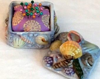 Pin Cushion,Sea Shell Pin Cushion,Handmade Pin Cushion,Porcelain Pin Cushion,Enamel Straight Pins,Custom Pin Cushion,Beach Decor,Notions