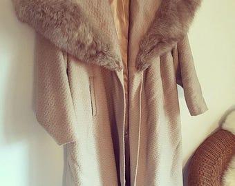 Vintage Fox Fur Collar Wool Coat