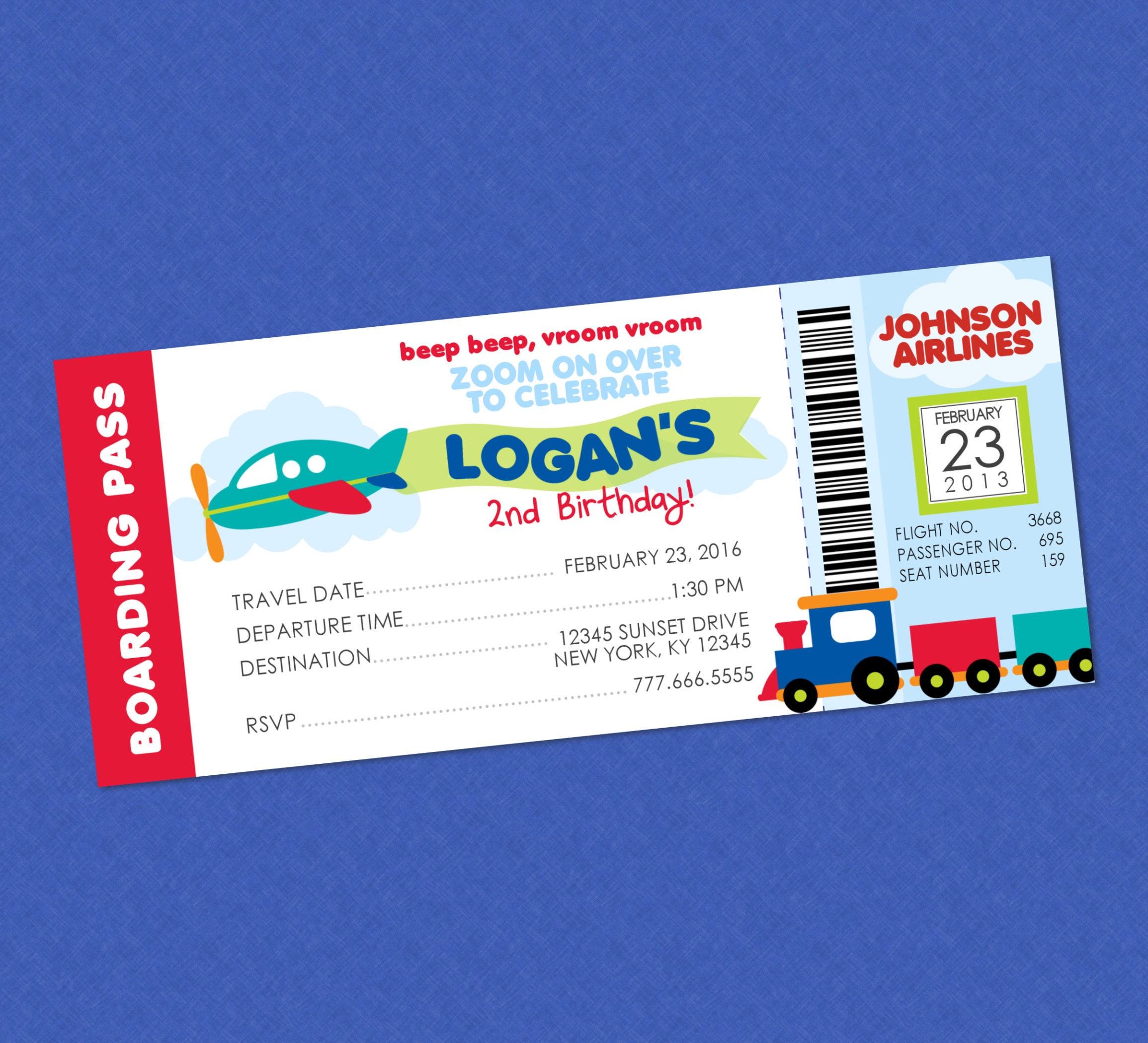 Cute Transportation Boarding Pass Ticket Style Birthday Invitation – Ticket Style Birthday Invitations
