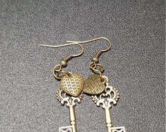 Gilded Gold Ornate Key and Heart Dangle Earrings