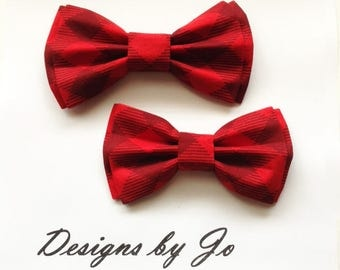 Bow Tie,Dad and Son Bow Ties,Red Plaid Bow Ties Father Son Bow Tie,Mens Bow Tie, Bowtie,Wedding Bow Tie,Mens Bowtie, Tie,Boys Bow Tie DS684