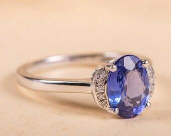Tanzanite Engagement Ring Oval Cut Blue Tanzanite Ring Unique Cluster White Gold Diamond Promise Anniversary Halo Bridal Multistone Ring