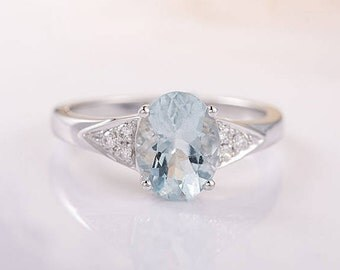 Oval Aquamarine Ring White Gold Engagement Ring Cluster Ring March Birthstone Anniversary Wedding Bridal Promise Micro Pave Diamond Ring