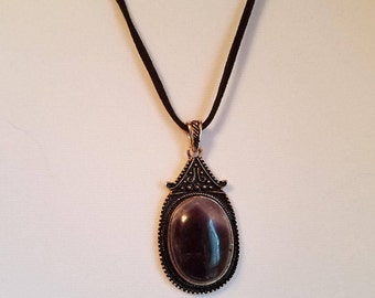 Purple Stone Antique Silver Necklace ~ Formal ~ Office Wear ~ Casual
