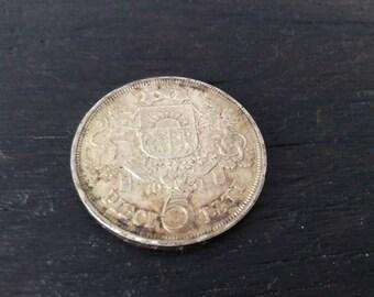 1931 Latvian Silver 5 Slati Coin / Numismatic / Latvia / EF
