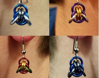 Chainmaille Bat fam earrings