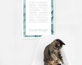 Personalized Pet Print, Custimizable Poster, Famous Pets, Animal Print, Custom Names, 50 x 70 poster, Typographic Print,Digital PDF Download