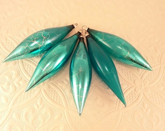 5 Turquoise Blue Hand Blown Icicles - West Germany
