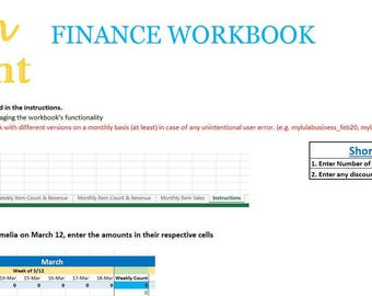 Fashion Consultant Finance Workbook - Revenue, Item Sales, Expenses, Profit Management and More - Excel Finance Spreadsheet 2017