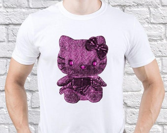 Hello Kitty/ Purple Kitty/ Pink Kitty/ Real Men/ Wears Purple/ men tshirt/ Hello Kitty tshirt/ Funny tshirt/ jogging tshirt/ gift for/(HK04)