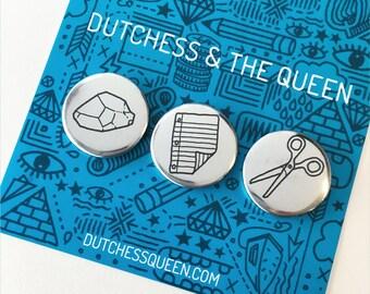 Rock Paper Scissors Button Set
