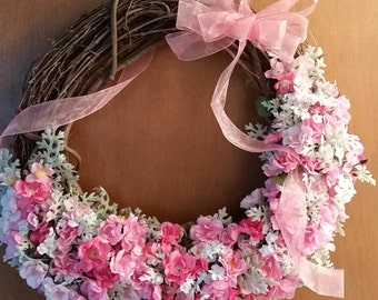 Pink Mini Roses Spring Wreath