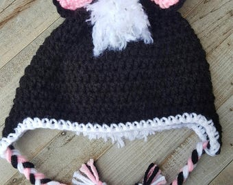 Skunk hat and skunk diaper cover, newborn skunk hat, baby skunk hat, toddler skunk hat, child skunk hat, adult skunk hat, diaper cover