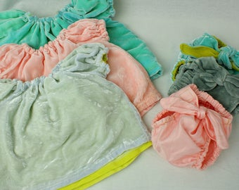 Soft hand dyed silk Bright Aqua and Citron Velvet Baby Dress