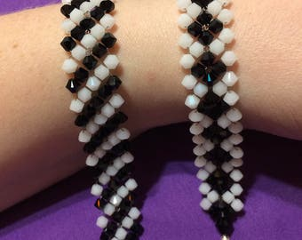 Black and White Swarovski Crystal Bracelets