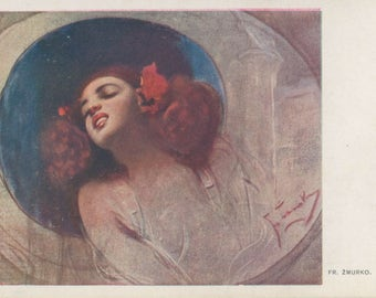 Vibrant Flowers | Red Haired Damsel Portrait | Antique 1900's Postcard | Belle Epoque | Turn of the Century | Polish Artist |