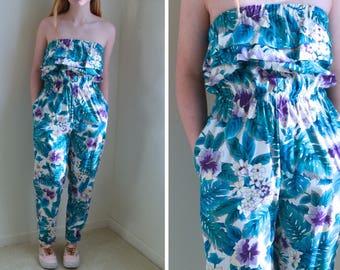 1980s Jumpsuit // Strapless Ruffled Floral Jumpsuit with Pockets // 80s Jumpsuit