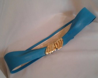 80s turquoise Leather Dress Belt gold buckle belt