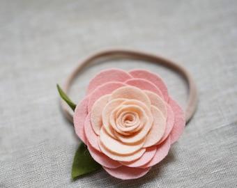 Pale pink felt garden roses headband | 100% wool felt | Baby headband