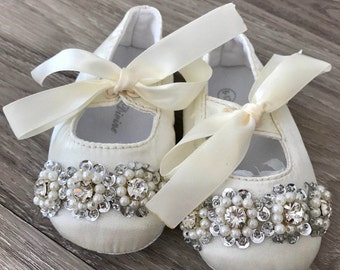 Baby satin ballet shoes with beaded lace christening shoes baptism
