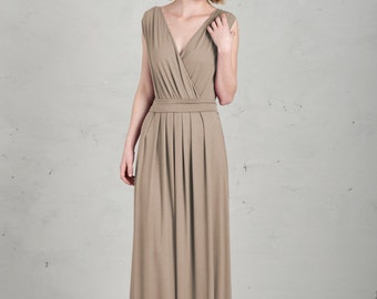 Long Bridesmaid Dress - Emma, Sand / Beige