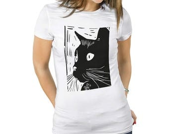 Cat Print Tshirt Cat Print Shirt Tshirt Black Cat Cute Black Cat Shirt Womens Cat Tee Shirt Black Cat Womens Cat Tshirt Black Cat Tee Shirt