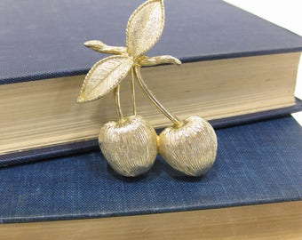 Vintage Sarah Coventry Gold Tone Cherries Brooch