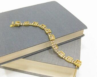 RARE Vintage Kramer Gold Tone Rhinestone Square Box Bracelet