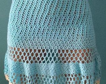 Turquoise crochet knit skirt