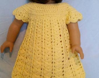 Yellow crocheted dress and hat; made for American Girl Doll