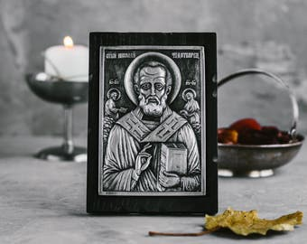 Saint Nicholas Icon, Orthodox Russian Icon, St Nicholas Day, Christian Gift, Religious Gift, Religious Icon, St. Nicholas Icon, Saint Icons