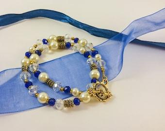 FREE SHIPPING Wedding bracelet Blue bracelet Crystal bracelet Romantic bracelet Gift for her Wrap bracelet Bridal bracelet Bridesmaids gift