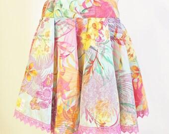 Girls Skirt, Circle Skirt, Summer Skirt, Flowers, 3T-4T