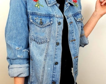 Floral Distressed Custom Denim Jacket
