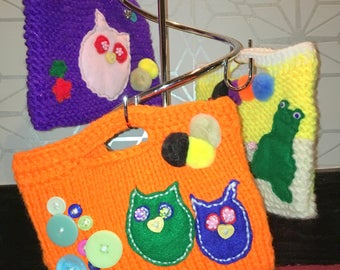 Hand knitted bags
