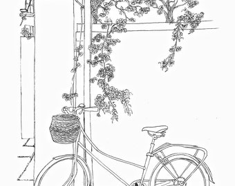 Bicyclette dessin etsy - Dessin bicyclette ...