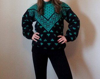 Emporio Gitano Green and Black Neon Ski Sweater